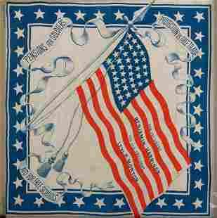A Harrison and Morton American Flag Campaign Banner