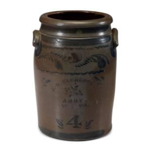 A Four-Gallon A.D. Clements Andy, West Virginia Cobalt