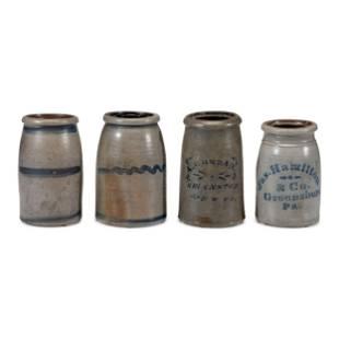 Four Cobalt Decorated Stoneware Jars