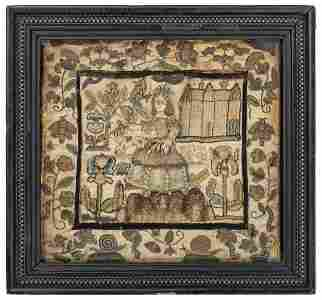 An English Silkwork Embroidered Shepherdess Picture