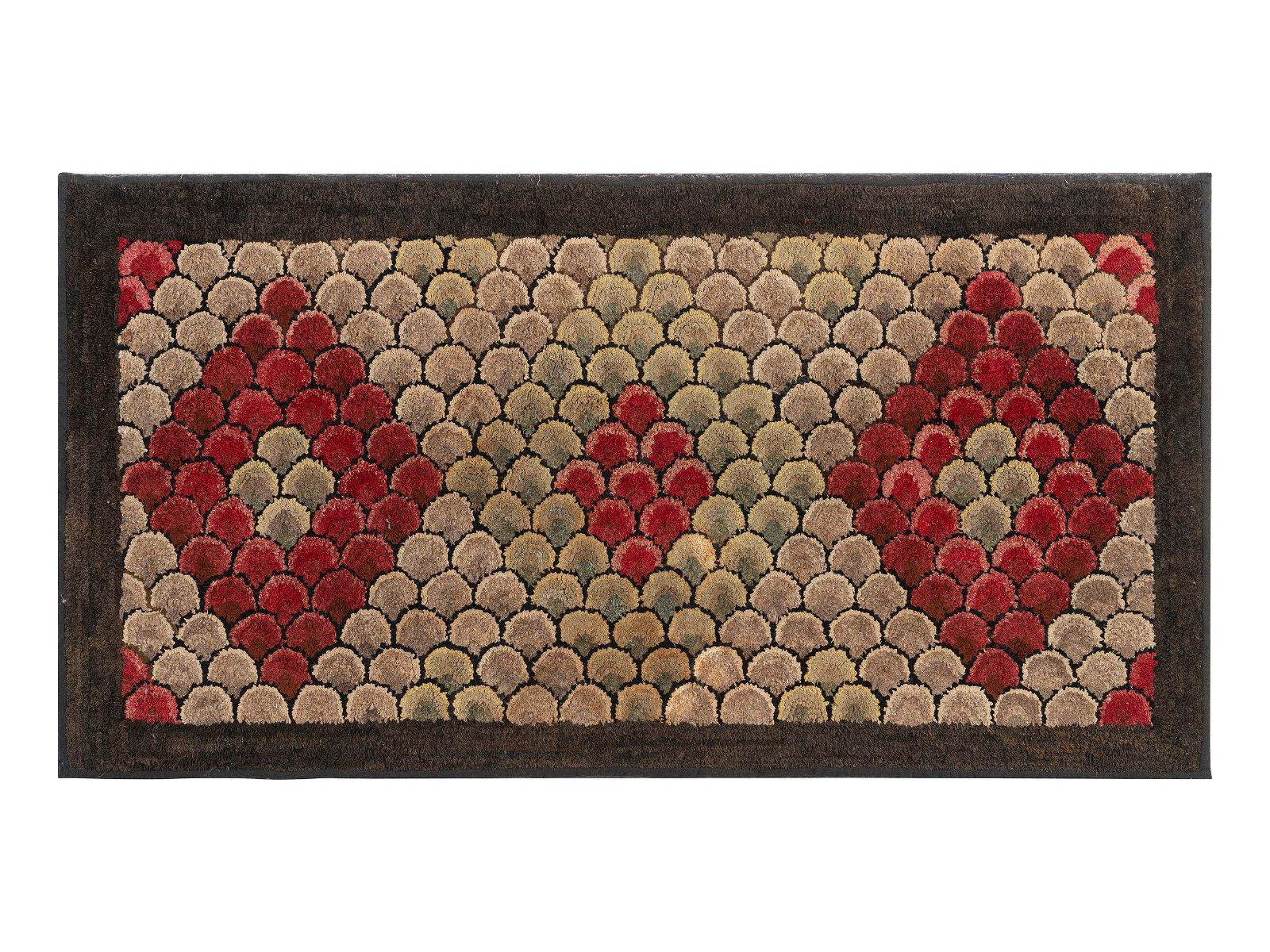 An American Fish Scale and Diamond Pattern Hooked Rug