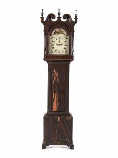 A Chippendale Grain Painted Pine Tall Case Clock