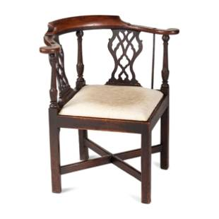 A Chippendale Carved Walnut Corner Chair