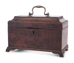 A George III Barberpole Inlaid Walnut Tea Caddy