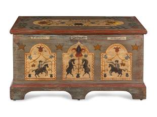 A Federal Polychrome Painted Unicorn Blanket Chest