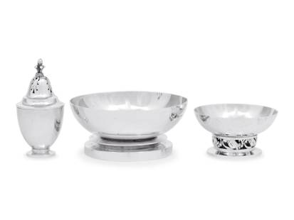 A Group of Three Georg Jensen Silver Table Articles