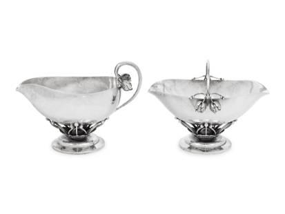 A Georg Jensen Silver Creamer and Sugar Set
