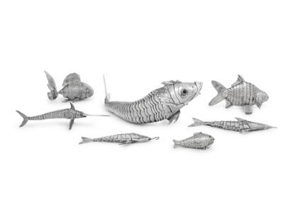 Seven Continental Silver Articulated Fish Table