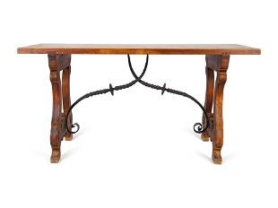 A Spanish Colonial Style Walnut Trestle Table with
