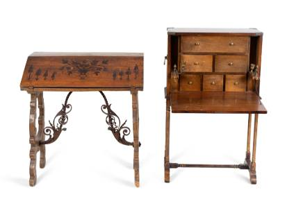 Two Spanish Colonial Style Desks Vargueno, height 41 x