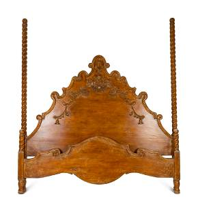 A Spanish Colonial Style Carved Walnut Bed Headboard,