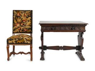 A Spanish Colonial Style Carved Walnut Desk and