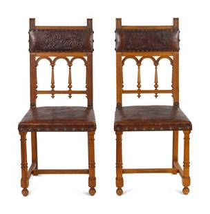 A Set of Six Baroque Style Dining Chairs Height 40 x