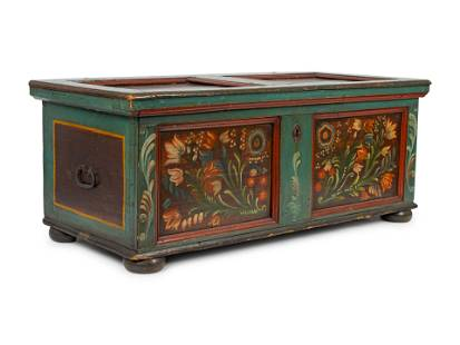 A Northern European Painted Chest Height 21 1/2 x width
