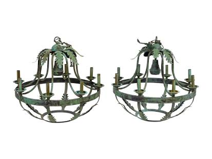 A Pair of Italian Baroque Style Green Patinated Iron