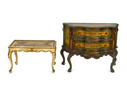 Two Pieces of Venetian Style Painted Furniture Commode,