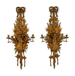 A Pair of Italian Carved Giltwood Six Light Wall
