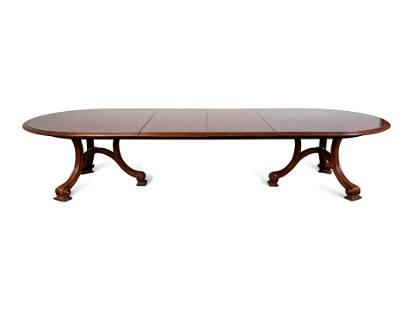 A Carved Walnut Two Pedestal Banquet Table