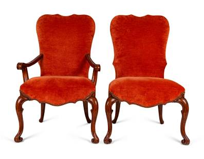 A Set of Ten Walnut Dining Chairs