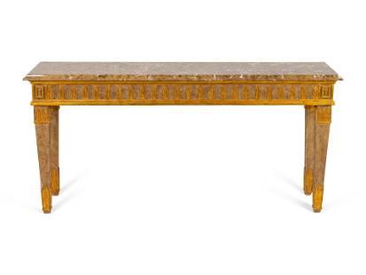 An Italian Directoire Style Parcel-Gilt Console Table