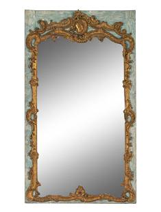 A Louis XV Painted and Parcel-GiltTrumeau Mirror Height