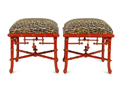 A Pair of Chinoiserie Style Red Lacquered Stools Height