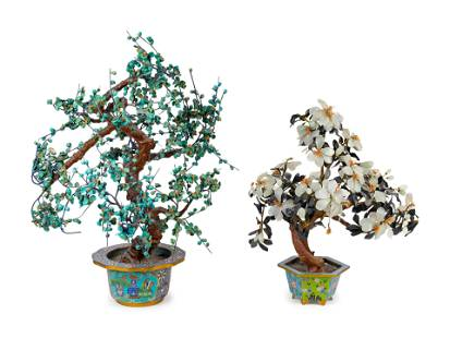 Two Chinese Hardstone Trees in Cloisonne Enamel