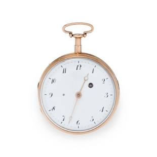 18 PINK GOLD MINUTE REPEATER OPEN FACE POCKET WATCH