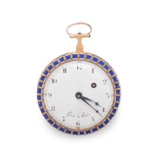 GUEX, ENAMEL AND SEED PEARL OPEN FACE POCKET WATCH