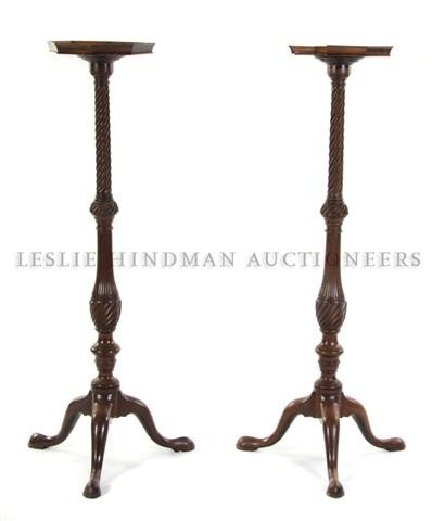 A Pair of Mahogany Pedestal Stands, Height 45 3/4 inche