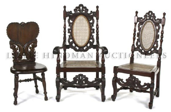 A Pair of Charles II Style Mahogany Chairs, Height of t