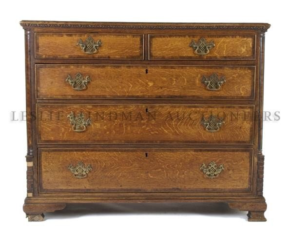 An English Oak Chest of Drawers, Height 35 1/2 x width