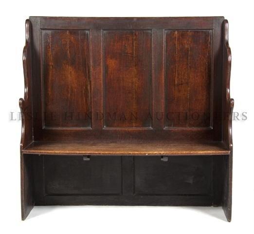 An English Oak Hall Bench, Height 47 x width 49 1/2 x d