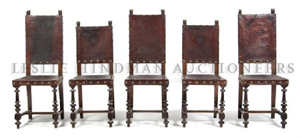 A Set of Five Gothic Revival Leather Side Chairs, Heigh