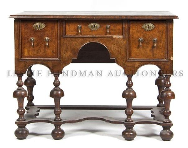 A William and Mary Style Bureau Mazarin, Height 32 x wi