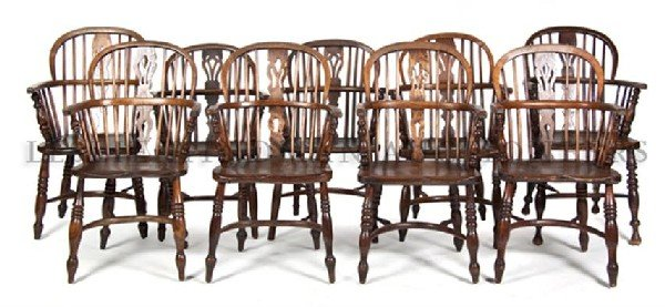 An Assembled Set of Nine Windsor Armchairs, Height of t
