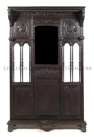 An English Tudor Revival Hall Stand, Height 79 1/2 x wi