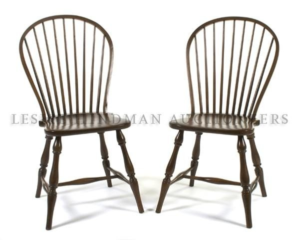 A Pair of Windsor Style Side Chairs, Height 37 1/4 inch