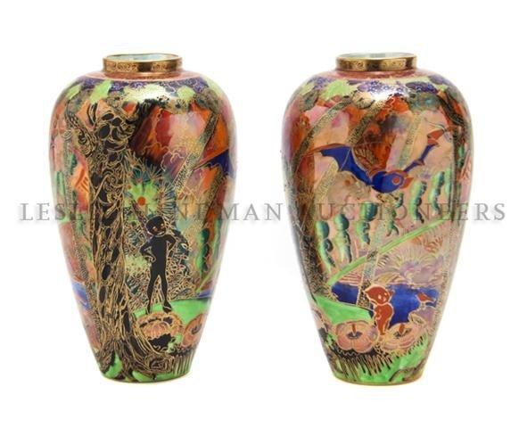 A Pair of Wedgwood Fairyland Lustreware Vases, Daisy Ma