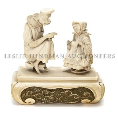 A Continental Ivory of Monkeys, Height 4 x width 4 inch