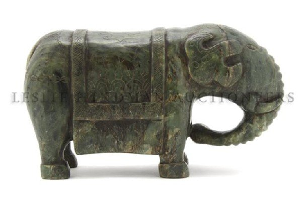 601: A Carved Jade Elephant, Height 12 inches.