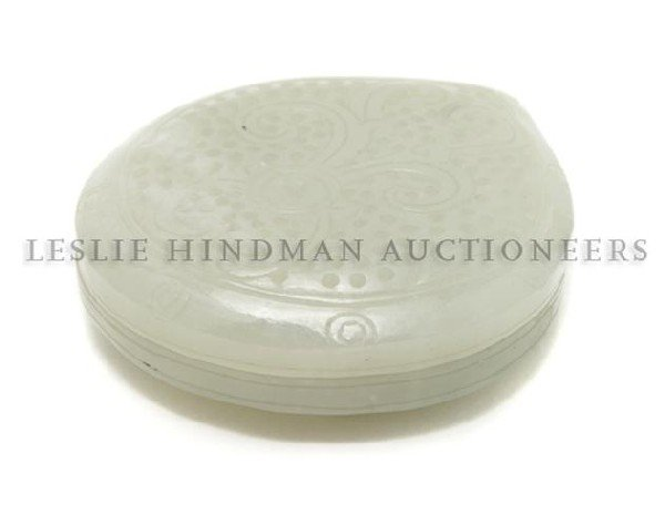 604: A Chinese White Jade Box, Width at widest 2 5/8 in