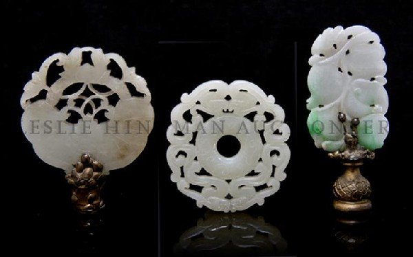 605: A Group of Three Chinese Carved Jade Articles, Dia