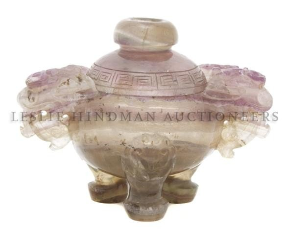 608: An Amethyst Censer, Height 4 3/8 inches.