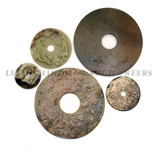 610: A Collection of Five Hardstone Bi, Diameter of lar