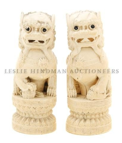 614: A Pair of Chinese Carved Ivory Fu Dogs, Height 5 3