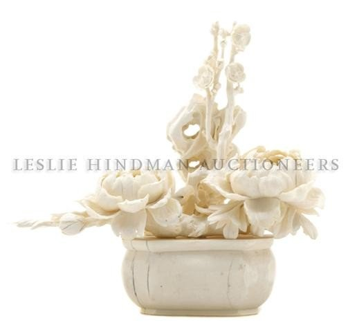 615: A Chinese Carved Ivory Floral Arrangement, Height