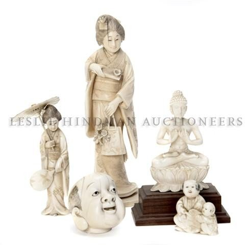 616: A Group of Five Carved Ivory Figures, Height of ta