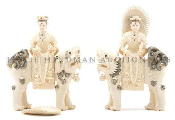 618: A Pair of Figural Ivory Carvings, Height 11 1/2 in