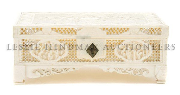 621: A Chinese Carved Ivory Box, Height 2 1/4 x width 5